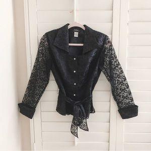 NWOT MSK black lace embroidery transparent blazer
